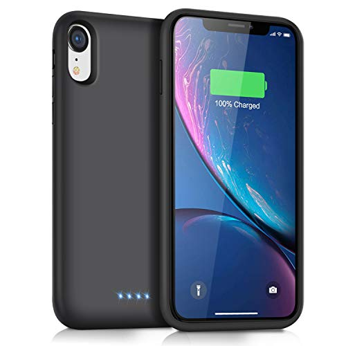 QTshine Battery Case for iPhone XR, Newest [6800mAh] Protective Portable Charging Case Rechargeable Extended Battery Pack Charger Case for Apple iPhone XR(6.1inch) Backup Power Bank Cover - Black