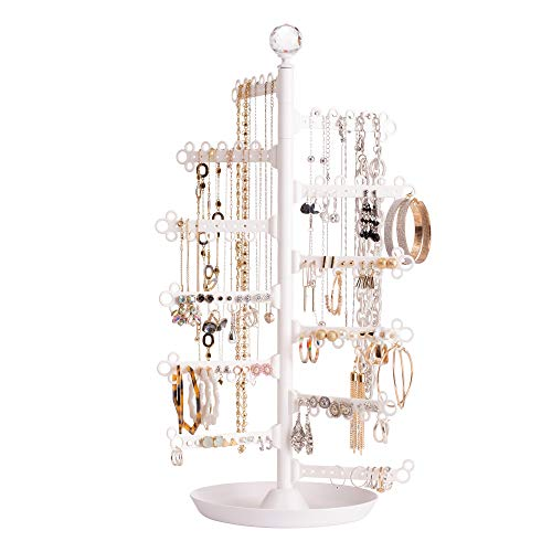 All Hung Up 12-Tier Jewelry Organizer|Rotating 360° Tree Stand Jewelry Display for Bracelets & Rings|Necklace Holder & Earring Organizer|Base Dish Tray (White)