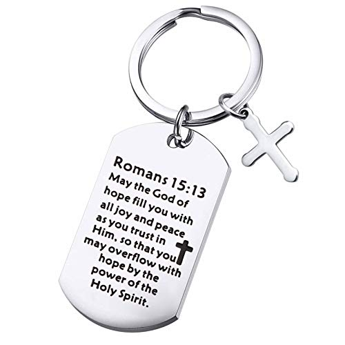 Christian Keychain Gifts Religious Gifts Bible Verse Jewelry May the God of Hope Fill You with All Joy and Peace Romans 15:13 Scripture Key Chains (Romans 15:13)