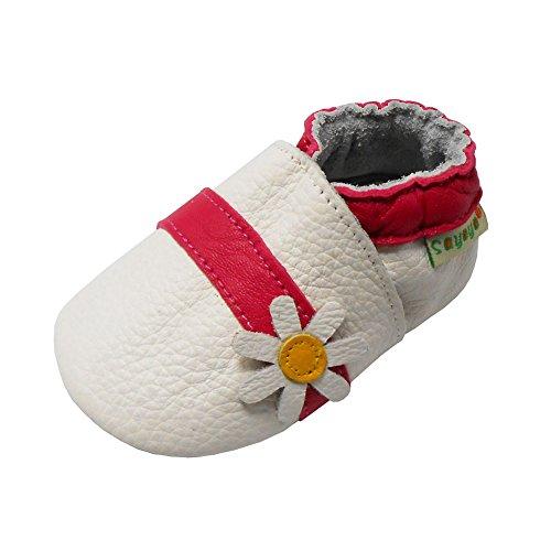 SAYOYO Karikatur Lauflernschuhe Baby Leder weiche Sohle Kugelsicherer Krippe Enfants Schuhe (Weiß,6-12 Monate)