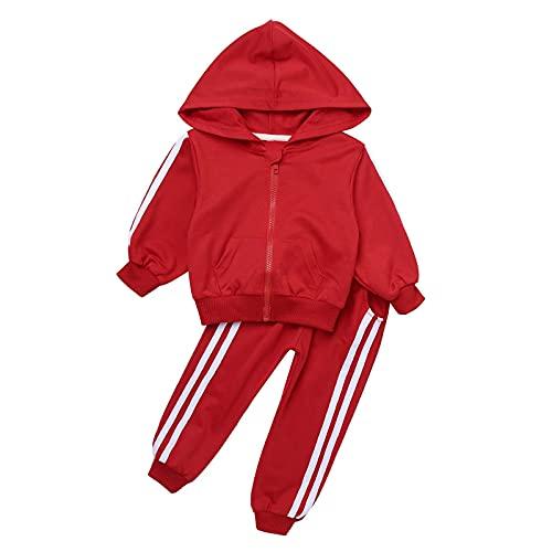 iiniim Kinder Sport Set Jungen Mädchen Sportanzug Trainingsanzug Langarm Pullover Sweatshirt mit Hose Sport Jogginganzug Rot 86-92