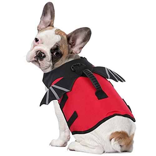 Chaleco de Vida para Perros con Flotabilidad y Asa de Rescate, Chaleco Salvavidas para Perros para Piscina o Playa, Chaleco Reflectante para Mascotas para que el Cachorro esté Seguro - ROJO XS
