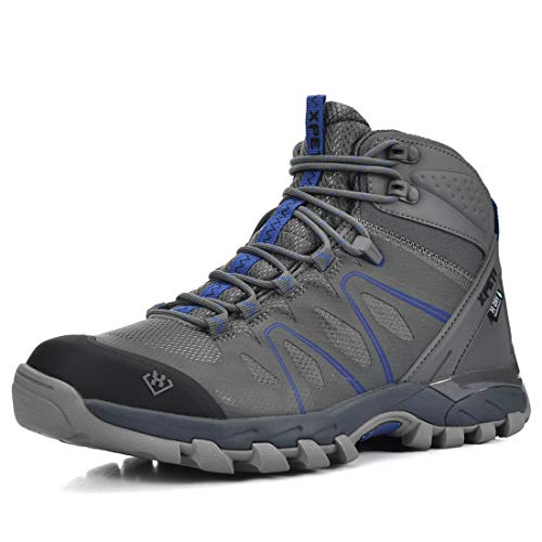 SKENARY Men's Mid Waterproof Hiking Boots, Breathable with High-Traction Grip Hiking (11 M US, Grey/Blue)