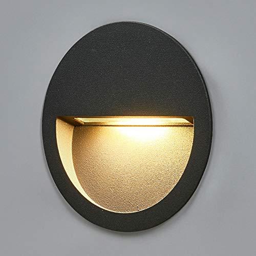 Lucande LED Wandleuchte außen 'Loya' (spritzwassergeschützt) (Modern) in Schwarz aus Aluminium (1 flammig, A+, inkl. Leuchtmittel) - Wandeinbauleuchte für Außen, Wandlampe Außenwand/Hauswand, Haus