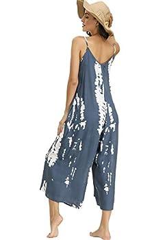 BUENOS NINOS Women s V Neck Floral Maxi Dress Boho Printed Adjustable Spaghetti Strap Ethnic Beach Long Dress with Pockets  XL Tie dye Jumpsuit