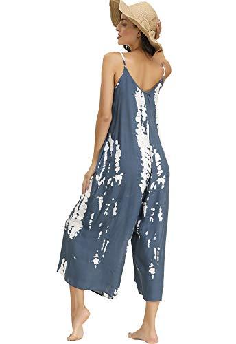 BUENOS NINOS Women's V Neck Floral Maxi Dress Boho Printed Adjustable Spaghetti Strap Ethnic Beach Long Dress with Pockets (S, Tie dye Jumpsuit)