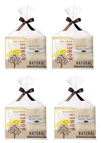 ナチュラル オーガニックタオル&ハチミツ配合入浴剤2点セット 景品 記念品 挨拶品 プチギフト 個包装 かわいいパッケージ (02 4個セット)