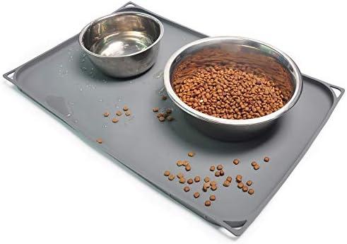 Gosmol Dog Food Mat 20 x 13 inch 0 6 inch Raised Edge Waterproof Pet Dog Food Tray Washable product image