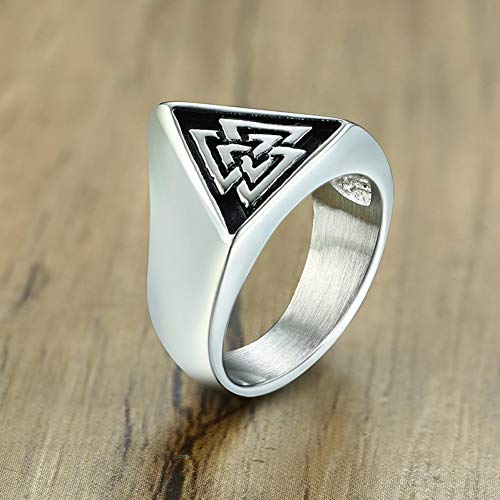 XWHKX Men's Stainless Steel Triangle Ring Nordic Jewelry