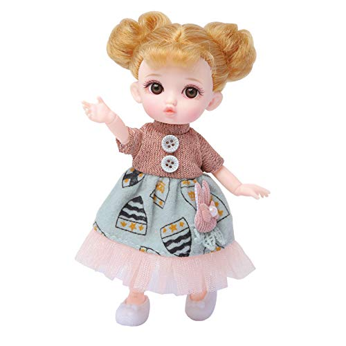 Zenny 6 Inch BJD Dolls 12 Ball Jointed Doll DIY Toys, with Full Set Clothes Shoes Wig Handbag Comb Makeup, Best Gift for Girls (Ball Princess)