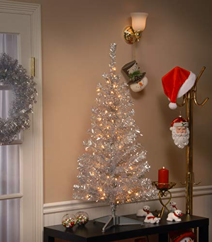 National Tree Company Pre-lit Artificial Christmas Tree | Includes Pre-strung White Lights and Stand | Silver Tinsel - 4 ft