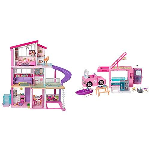 Barbie Casa De Muñecas con Accesorios, La Casa De Tus Sueños, con Elevador Nuevo + Caravana para Acampar 3 En 1 De con Piscina, Camioneta, Barca Y 50 Accesorios