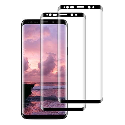 FayTun Protector de Pantalla para Samsung Galaxy S8 Plus, Vidrio Templado, 3D Curvado Completa Cobertura, Alta Definicion, 9H Dureza, Antiarañazos, Antihuellas, Sin Burbujas, 2 Piezas
