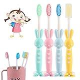 4 cepillos de dientes para niños de conejito de dibujos animados, cepillos de dientes suaves para niños con cepillos de cerdas suaves, se pueden usar para encías sensibles(amarillo,azul,rosa,verde)