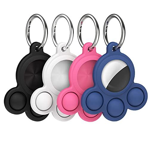 ATUIO - Apple Airtag Tracker Silikon Hülle, 4 Stück, Air Tags GPS Hülle, Air Tags Schutzhülle, Air Tags Zubehör, Schlüsselanhänger Schutzhülle, Air Tags Hülle, Keyring Hülle, mit Katzen Pfoten Muster