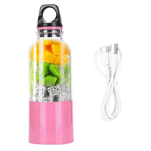 Handheld Juice, 500ML Elektrische Juicer Cup Draagbare Groenten Vruchtensap Maker Automatische Tool USB Oplaadbare Smoothie Blender Mixer Fles(500ML-Roze)