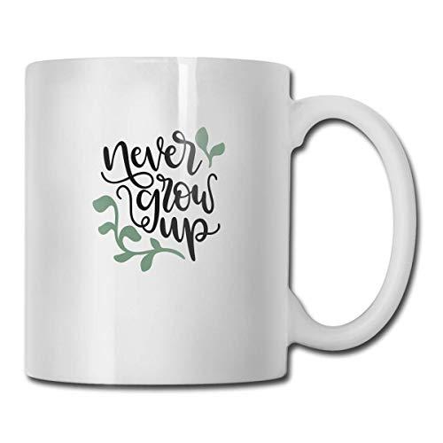 N\A Tazas de café novedosas Never Give Up SVG Archivo Cortado Taza de Leche de té Blanco de cerámica 11 onzas
