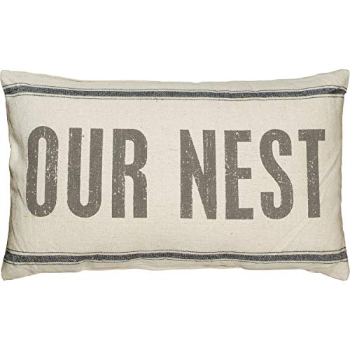 Primitives by Kathy 19068 Distressed Light Throw Pillow, 25 x 15-Inches, Our Nest