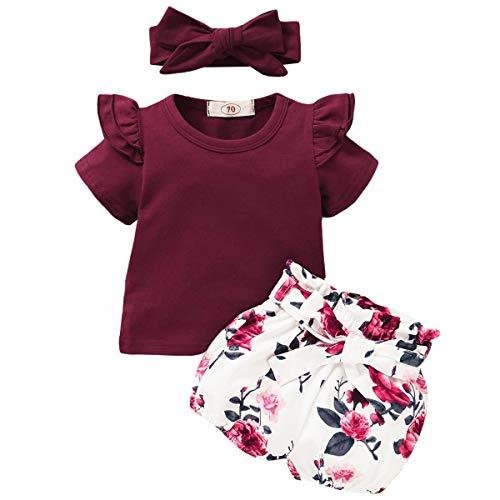 FYMNSI - Conjunto de ropa para bebé (algodón, volantes de manga larga, con estampado de flores y lazos, 3 piezas) Rojo vino. 6-12 Meses