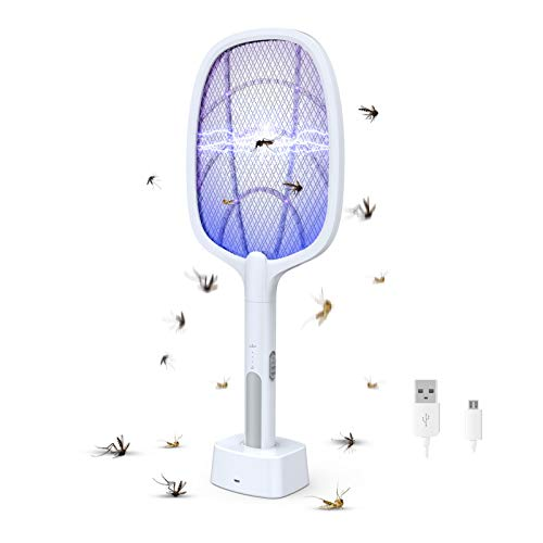 Bug Zapper, Mosquito Killer Mosquitoes Lamp & Racket 2 in 1, USB Rechargeable Electric Fly Swatter for Home and Outdoor Powerful Grid 3-Layer Mesh