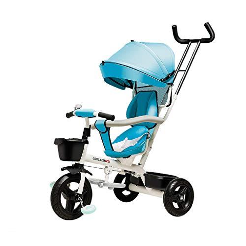 FGX Kind 3 Wheeler Fiets Baby Vervoer Opvouwbare Kids Kinderwagens Peuter Trike Awning Multifunctionele Kinderdriewieler Draaibare Stoel Titanium Leeg Wiel