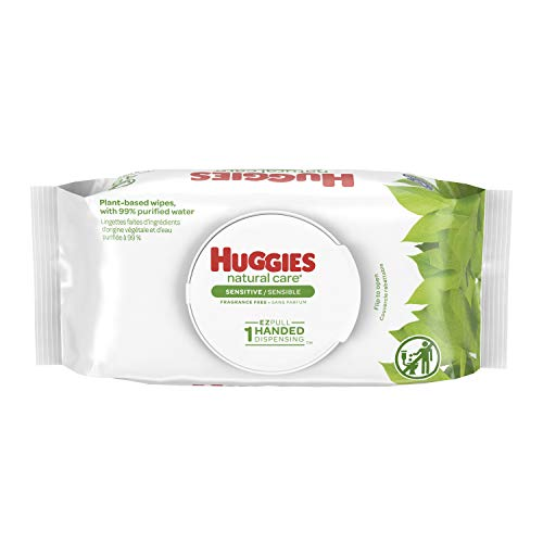 Huggies Natural Care Sensitive Baby Wipes, Unscented, 6 Flip Lid Packs (288 Wipes Total)