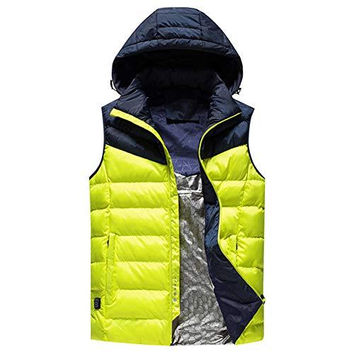 AEF Männer Verstellbarer Elektrischer USB-Heizmantel 3 Heizmodi Waschbare Wiederaufladbare Warme Jacke Geeignet Outdoor Sportarten,Gelb,L