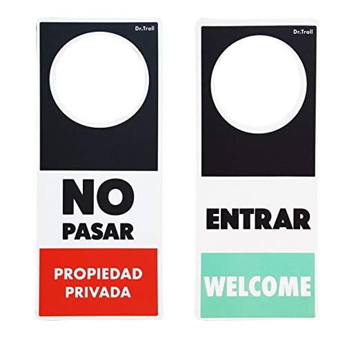 Dr. Troll POMING Cartel NO Molestar Colgador para POMO Puertas HABITACIÓN Tipo DO Not Disturb NO Pasar - Propiedad PRIVADA Entrar - Welcome