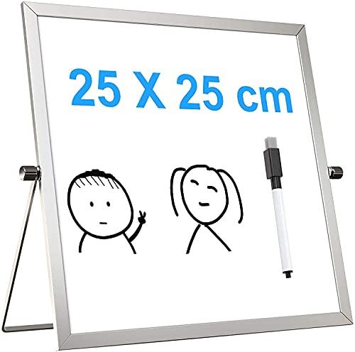 Pequeño escritorio Borrar seco Tablero Portátil Magnético Pizarra de doble cara Easel 360 grados Ajustable 7.8 x 11.8 pulgadas (20 x 30 cm) Para Niños Oficina Inicio Regalo de la Escuela