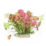 VOANZO Paquete de 5 plantas artificiales para acuario, tamaño pequeño, decoración para el hogar (rosa)