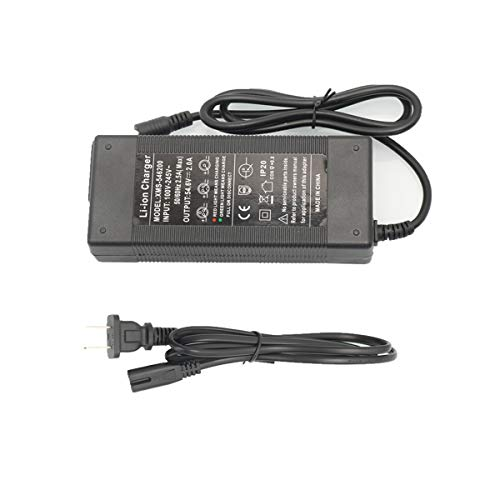 48V 2A Battery Charger Adapter Power Supply Output 54.6V 2A li-ion Battery Charger Fast for 48V ebike Electric Bicycle Bike Scooter Lithium Batteries Pack