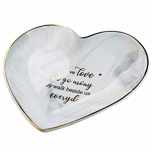 VILIGHT Memorial and Sympathy Gifts for Loss of Loved One - Remembrance and Bereavement Marble Heart Jewelry Tray - Large Size 5.5 Inches