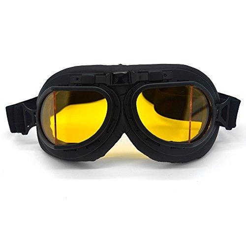 SummShine Noir Steampunk vintage Lunettes de casque de moto Motocross Lunettes de soleil Sports de plein air Racer Croiseurs Eyewear