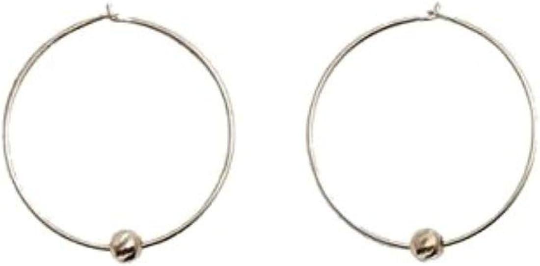 ERTH 14K Solid Yellow Gold Dainty Hoop Earrings Statement Disco Ball / 7 Rings Of Friendship / Plate / Sleepers Hoop Earrings Delicate Fine Jewelry for Women Girls, 15mm
