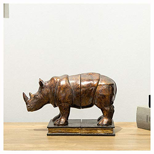 Hars neushoorn boekensteun, dier hars ambachten desktop decoratie, eenvoudige stijl home decoratie, gepersonaliseerde eenvoudige ambachten
