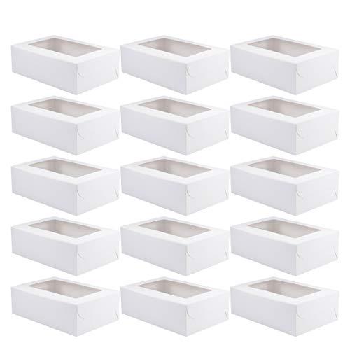 BESTOYARD ケーキボックス ケーキ箱 ギフトボックス お菓子箱 カップケーキ マフィンカップ エッグタルトボックス 業務用 20個セット(ホワイト・6仕切り)