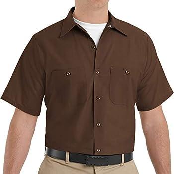 Red Kap Men s Standard Industrial Work Shirt Regular Fit Short Sleeve Chocolate Brown Large