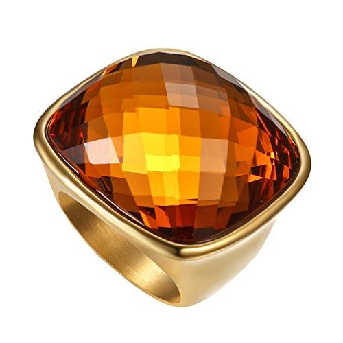 HIJONES Damen Edelstahl Natur Glas Kristall Champagner Gold Edelstein Ring Hochglanz Größe 60