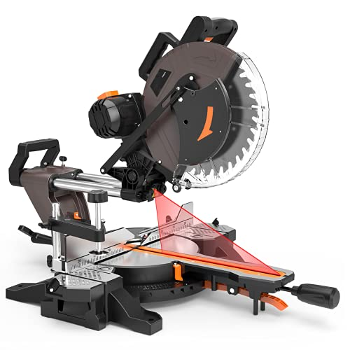 12-inch Sliding Miter Saw, 15Amp, 3800rpm, Double-Bevel Compound Miter Saw with Laser, Extensible Table, Clamping Device, 40T Blade for Wood Cut - PMS03A
