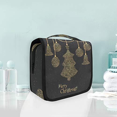 Maquillage trousse de maquillage doré décoration de noël sac de toilette de voyage