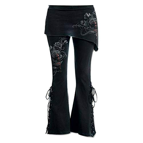 Lazzboy Leggings Bottom Frauen schwarz Bestickt lässig Verband Flares Punk Lace Up Bell (M,Rot)