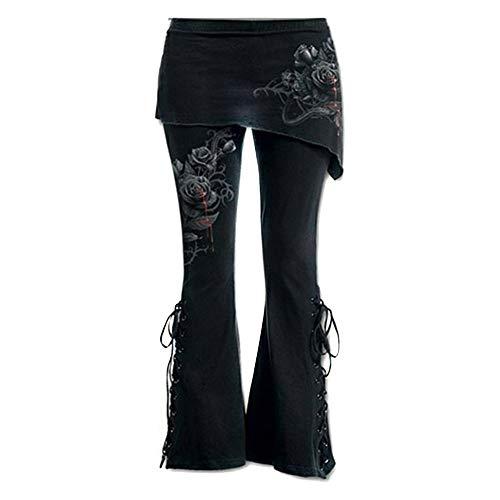 Ansenesna Hose Damen Schwarz Schlaghose,Stretch Skinny Lang Freizeithosen mit Gummibund Slim Fit Vintage Mode Für Frauen (L, Rot)
