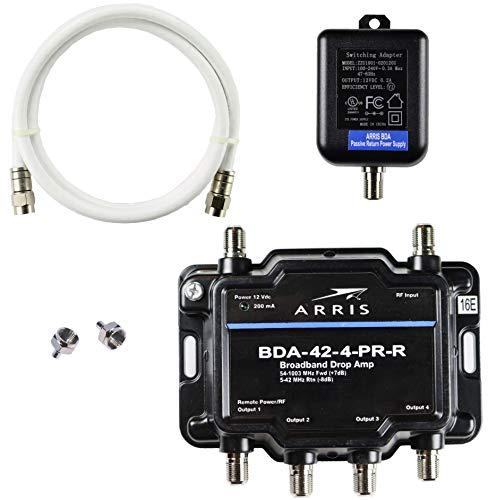Arris 4-port bidirezionale cavo TV OTA satellitare HDTV amplificatore splitter ripetitore del segnale con passivo ritorno cavo coassiale e pacchetto–Cabletvampsã...