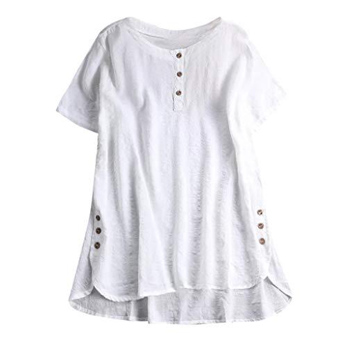 QingJiu Damen T-Shirt Mode Frauen Kurzarm Kaftan Baggy Button Baumwolle Leinen LäSsige Tunika Bluse (XXXXX-Large, Weiß)