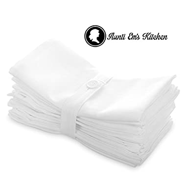 Aunti Em's Kitchen Dinner Napkins Cloth 12 Pack 20x20 Oversized Bulk 100% Natural Cotton White Cotton Linens for Events, Weddings and Dinner