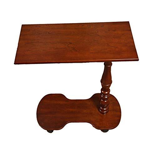 Axdwfd Table d'ordinateur portable avec tablette latérale en bois massif, canapé américain, avec roue universelle en bas, facile à déplacer (marron)