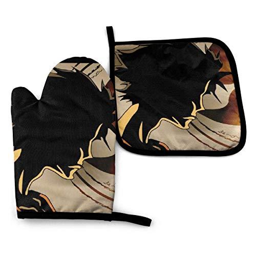 ND Samurai Champloo Manoplas y Soportes para ollas Resistentes al Calor Conjuntos de Cocina Manoplas de Cocina para microondas Barbacoa Cocinar Hornear Asar a la Parrilla para Hombres Mujeres Chil