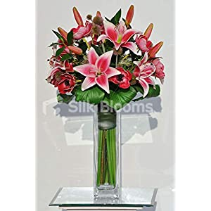 Silk Blooms Ltd Artificial Red Fresh Touch Anemone and Pink Oriental Lily Vase Arrangement w/Green Foliage
