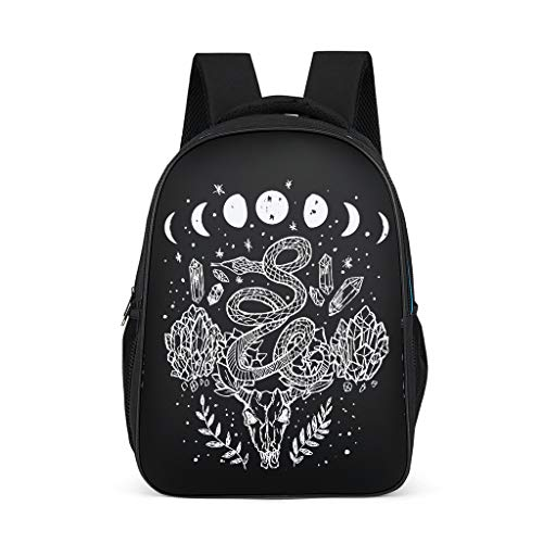 Vintage Moose Snake Diamonds Moon Phase Girls Boys Backpacks Printed 3D Fashion School Backpack School Bag Children's Backpacks Fits for Children