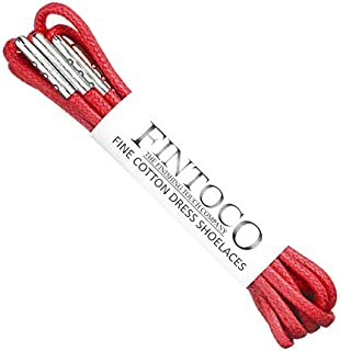 Fintoco Round Waxed Dress Shoe laces with Metal Tips